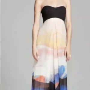 Dianne Von Furstenberg maxi strapless silk dress 6